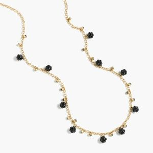 J. Crew Long Crystal and Stone Necklace - Black